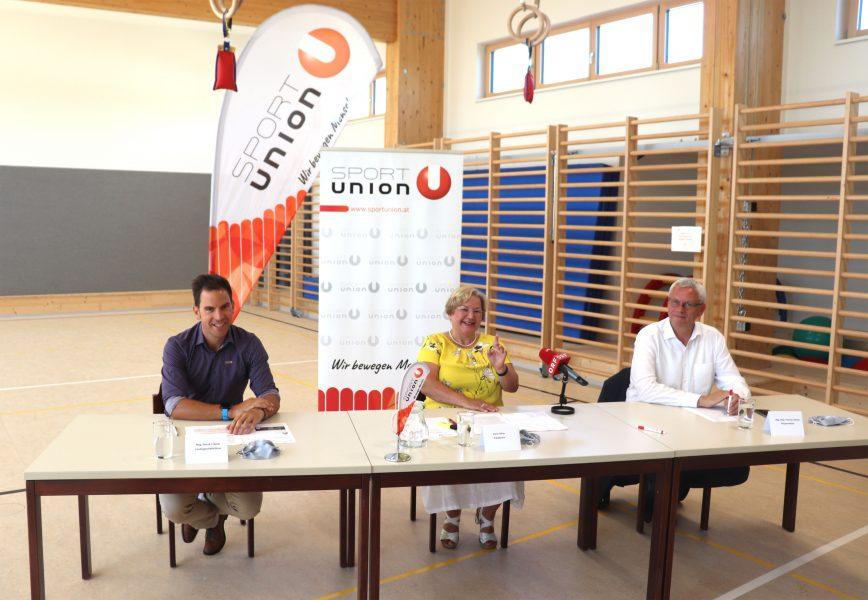 SPORTUNION Präsidentin Karin Ofner, Geschäftsführer Mag. Patrick J. Bauer und Eisenstadts Bürgermeister LAbg. Mag. Thomas Steiner setzen sich für mehr Platz für den Sport ein