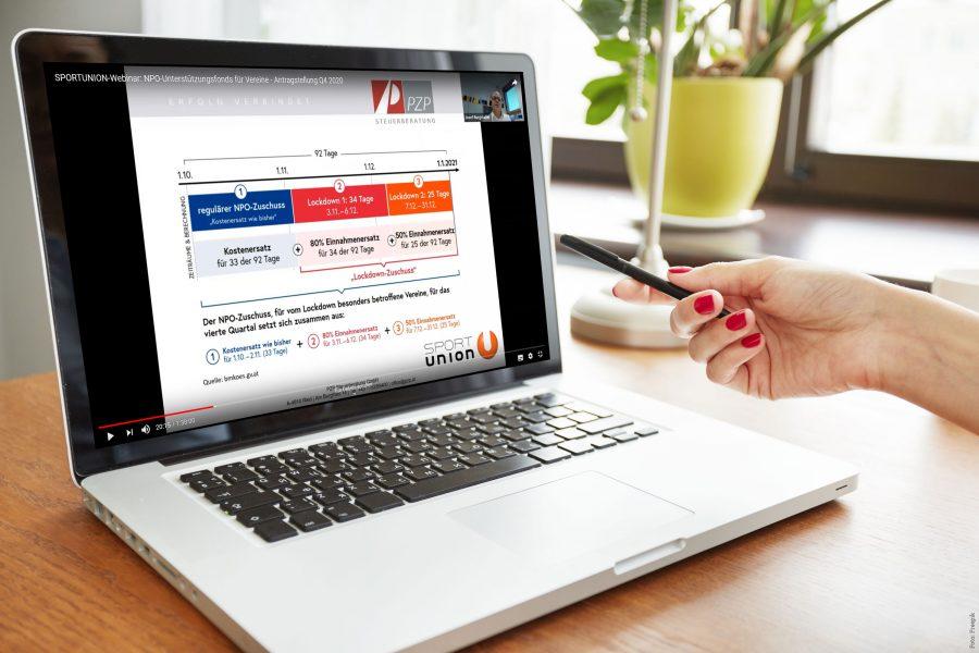 Webinar NPO-Fonds schauen auf Laptop