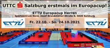 UTTC Sparkasse Salzburg nimmt am European Table Tennis Union Europacup im Sportzentrum Nord teil