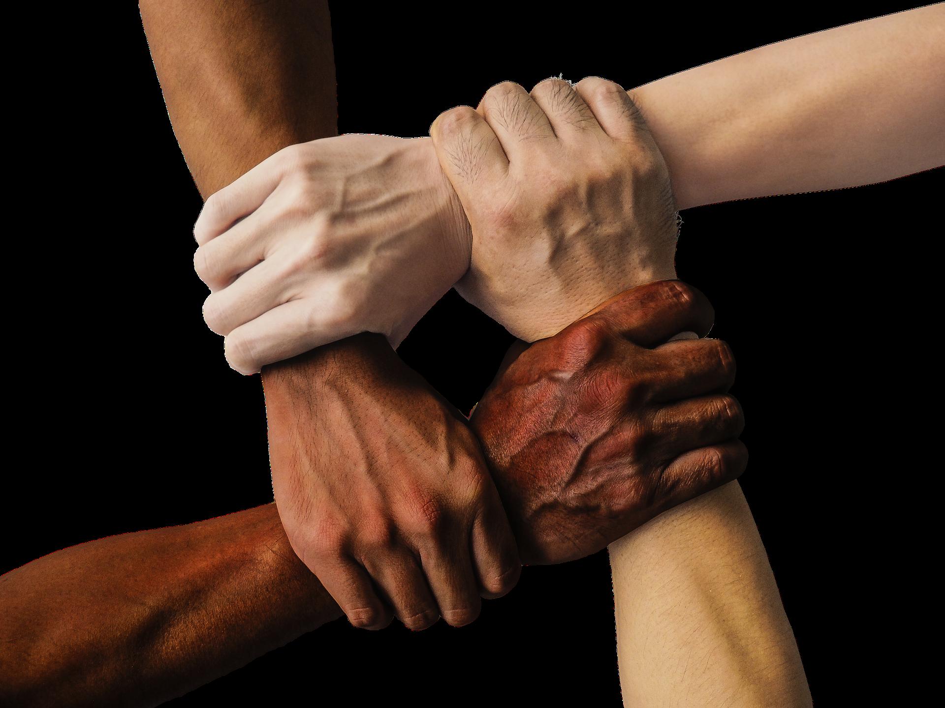 vier, sich fassende Hände