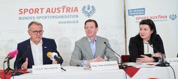 BSO Präsident Hans Niessl, Peter McDonald, Anna Kleissner 10. Dez. 2019, Haus des Sports, Wien