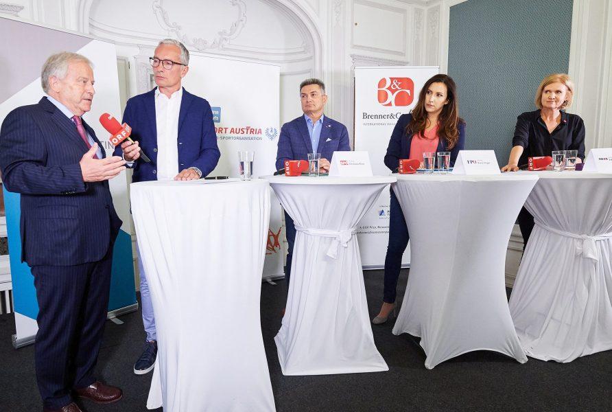 Podiumsgaeste: SportsprecherInnen bzw. deren VertreterInnen der aktuellen Nationalratsparteien, Brenner&Company, Wien, 10.09.2019,