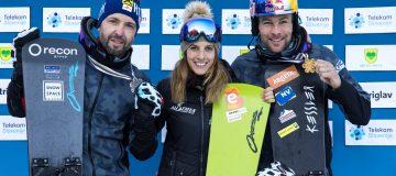 ROGLA,SLOVENIA,02.MAR.21 - SNOWBOARDING - FIS Snowboard World Championships, parallel slalom, ladies, men, award ceremony. Image shows the rejoicing of Andreas Prommegger, Julia Dujmovits and Benjamin Karl (AUT).