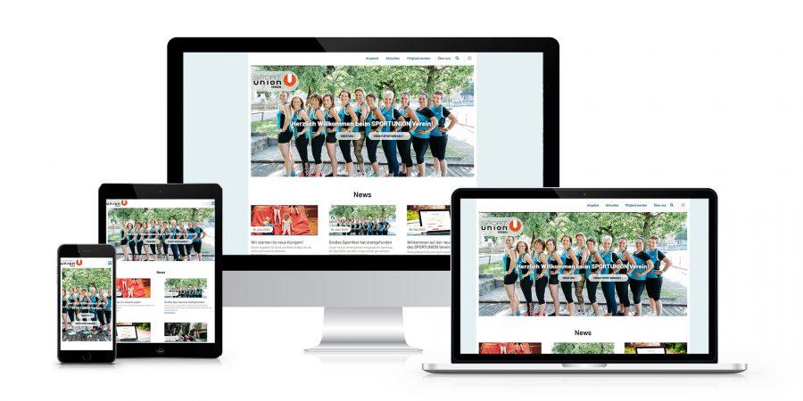 SPORTUNION Vereinswebsite System Mockup responsiv