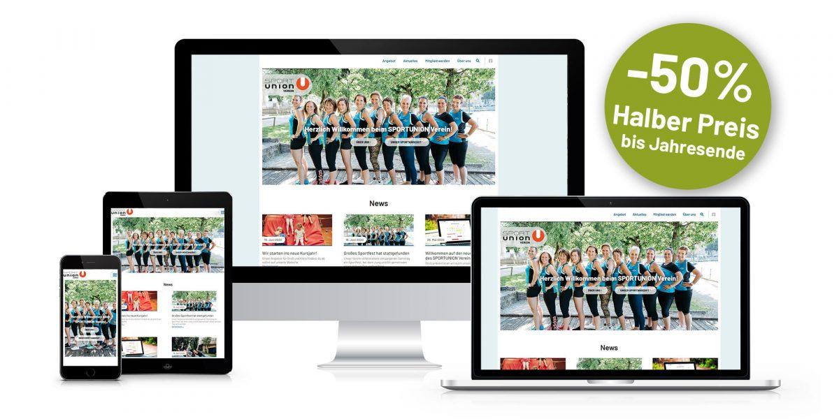 Vereinswebsite Aktion -50%