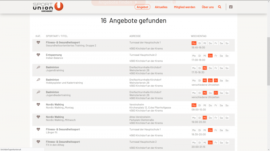 Screenshot SPORTUNION Kirchdorf