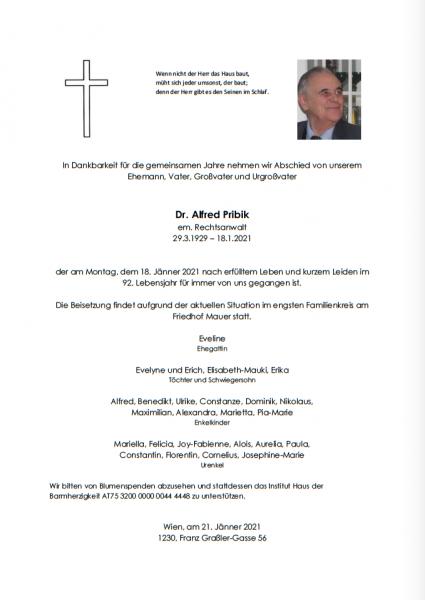 Gedenken Dr. Alfred Pribik