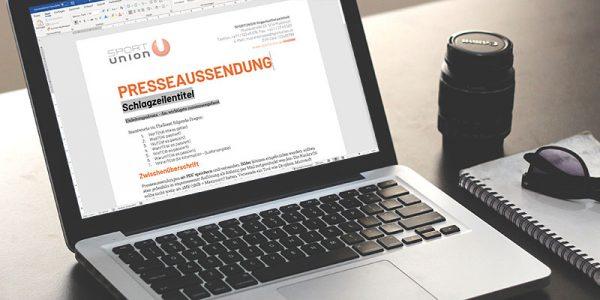 Laptop mit Presseaussendung