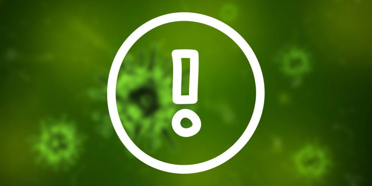Virus-Bild und Rufzeichen